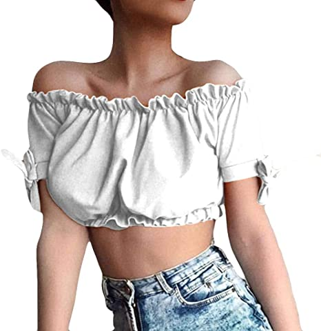 Camisa de Mujer de Wawer, Sexy, Volante, Color Puro, sin ...
