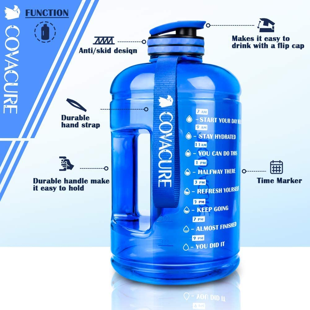 covacure Water Bottle with Time Marker - Reusable 360°Leak-Proof Drinking Water Jug for Gym Fitness, Camping, Hiking : Sports & Outdoors