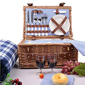 SatisInside INSULATED 17Pcs Kit Deluxe 2 Person Wicker Picnic Basket (Reinforced Handle) W/ Cutlery, Plates, Glasses, Tableware Plus A Free Waterproof Fleece Blanket - Blue Gingham