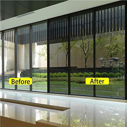 Ablave One Way Window Film Privacy Window Heat Control Film Anti-UV Static Glass Films Static Non-Adhesive Window Tint for Home and Office 23.6\