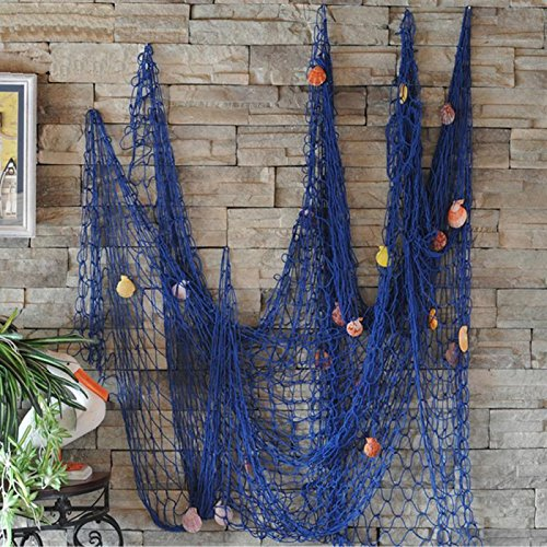 VEIOU Fish Net Decor Nautical Mediterranean Style Home Wall Decorative With Shells (Blue) by VEIOU