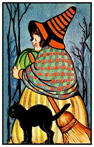 Orenco Originals Folk Art Witch Black Cat Halloween Counted Cross Stitch Pattern ()