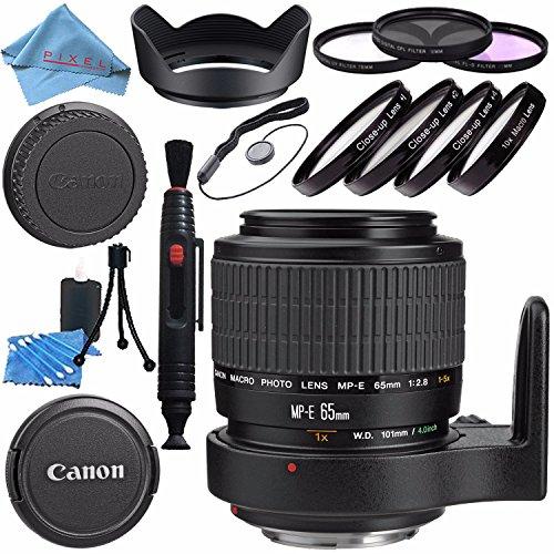 (Canon MP-E 65mm f/2.8 1-5x Macro Photo Lens 2540A002 + 58mm 3pc Filter Kit + 58mm Macro Close Up Kit + Lens Cleaning Kit + Lens Pen Cleaner + 58mm Tulip Lens Hood Bundle)