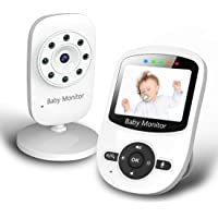 CREUSA® Baby Monitor, Video Baby Monitor with Digital Camera and Audio, Wireless View Video, Infrared Night Vision, Talk Back, Temperature Monitoring, Feeding Alarm, Lullabies and Long Battery Life (White)