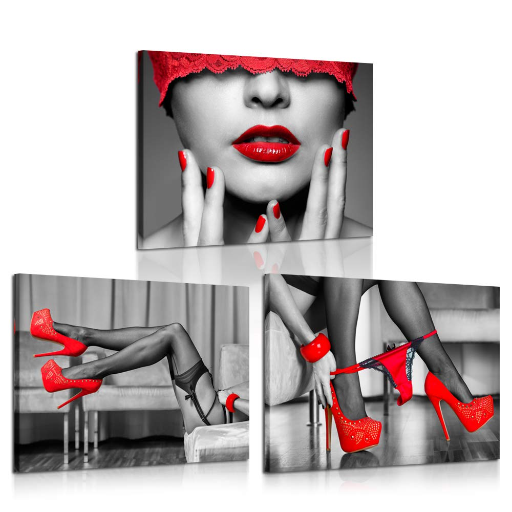 iK Canvs 3 Piece Black and Red Canvas Prints High Heel Fashion Shoes Digital Canvas Art Print Sexy Woman Lips and Legs Poster Framed Art Work Stretched Ready to Hang for Hotel Bedroom Walls 12x16inc