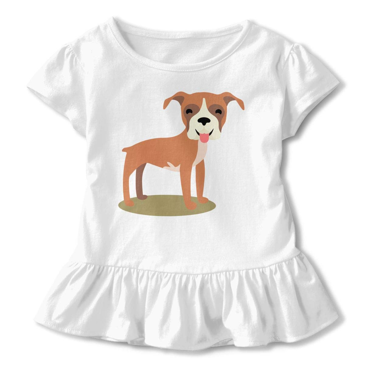 HYBDX9T Toddler Baby Girl Boxer Dog Funny Short Sleeve Cotton T Shirts Basic Tops Tee Clothes