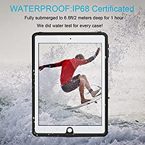 iPad Air 2/iPad Pro 9.7 Waterproof Case, Eonfine Shockproof Waterproof Dustproof Drop Resistant Protective Full-sealed Clear Case for iPad Air 2/iPad Pro 9.7 inch Black