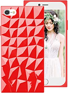 iPhone SE 2020 Clear Case,Square iPhone 8/7 Case for Girls Women,3D Geometric Diamond Cute Design Soft Silicone Protective Phone Case Cover with Squared Edges Corners for Apple iPhoneSE 2nd/8/7,Red