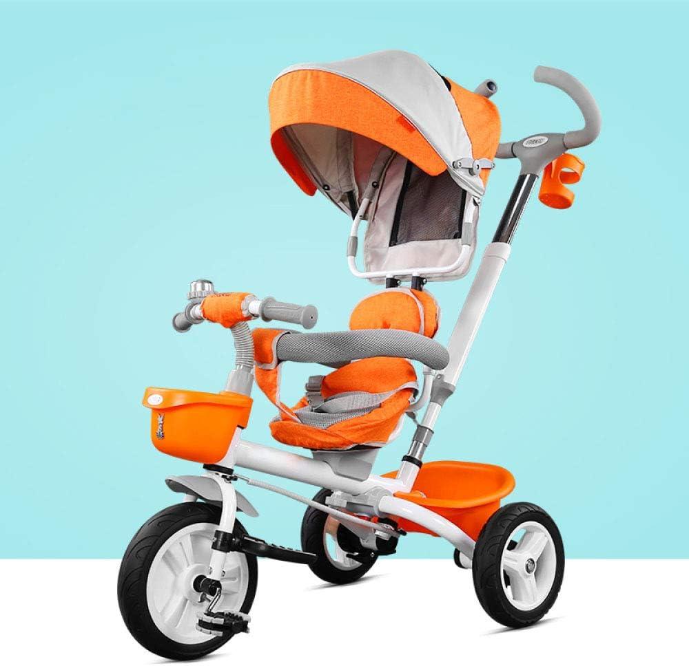 3 In 1子供用折りたたみ式三輪車6か月から5年360°旋回式サドル子供用ハンドプッシュ式三輪車折りたたみ式サンキャノピー調節可能なハンドルバー子供用三輪車最大重量25 Kg,Orange