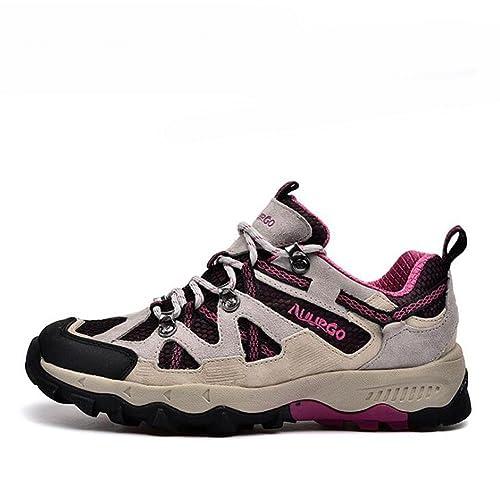 1fbccd97f4239 Suetar Zapatos de montañismo de Primavera y Verano de Moda Unisex Zapatos  de Senderismo de Tela de Cuero y Malla Zapatillas de Deporte Exteriores ...