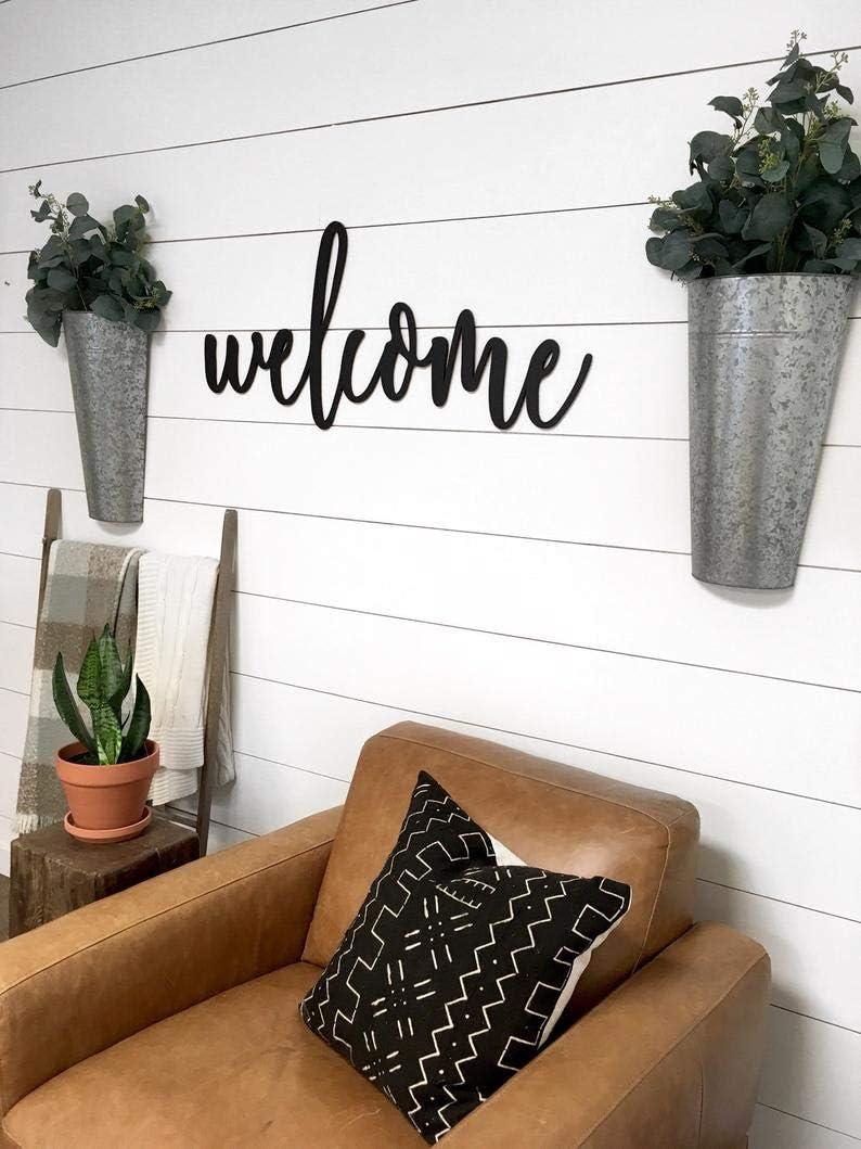 Decor Welcome Word Wall Art Wood Cut