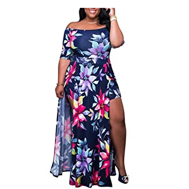 2a6d584c7a9 Hoter Womens Off Shoulder Printing Conjoined Plus Dress Party Split Maxi  Romper Dress(M-5XL) at Amazon Women s Clothing store