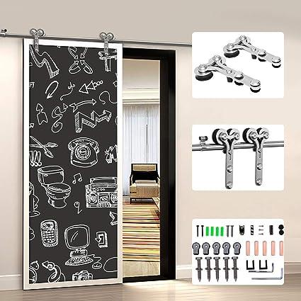 CCJH 6FT-183cm Acero Inoxidable Herraje para Puerta Corredera Kit de Accesorios para Puertas Correderas Rueda Riel Juego para Una Puerta de Madera: Amazon.es: Bricolaje y herramientas