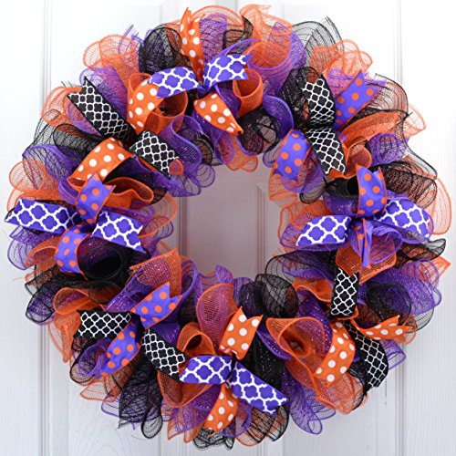 Mesh Halloween Wreath | Purple Orange Black Deco Mesh Outdoor Front Door Wreath Polka Dot -
