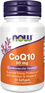 NOW Supplements, CoQ10 50 mg, Pharmaceutical Grade, All-Trans Form produced by Fermentation, 50 Softgels