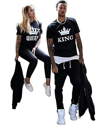 Minetom Pareja Camiseta Reina 01 Impresión Hombres Mujer Casual Fashion Tops Tees, San Valentín Amante Pareja Camiseta Corona (King/Queen) EU M (Hombre): ...
