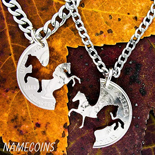 Horse relationship necklaces, Western Cowboy and Cowgirl Necklaces, Hand cut from a coin, By NameCoins (Cowboy Coin Necklace)