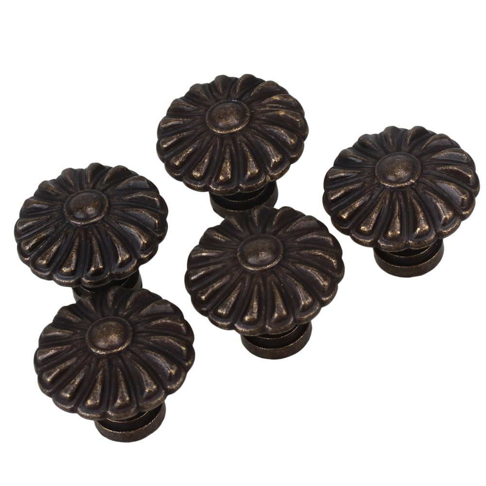 BQLZR 27 x 22mm Antique Bronze Round Handle Kitchen Cabinet Cupboard Door Drawer Pull Knob Without Screws Pack of 5 N09745