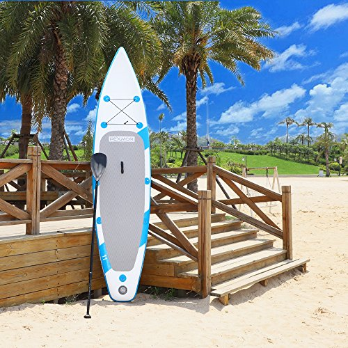 PEXMOR 11' Inflatable Stand Up Paddle Board (6 Inches Thick) with SUP Accessories & Carry Bag | Wide Stance, Bottom Fin for Paddling, Surf Control, Non-Slip Deck | Youth & Adult Standing Boat (30)