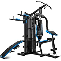 PROFLEX M9500 Multi-Function Home Gym Machine with Punching Bag, Situp Bench, Dip Station, Black/Blue