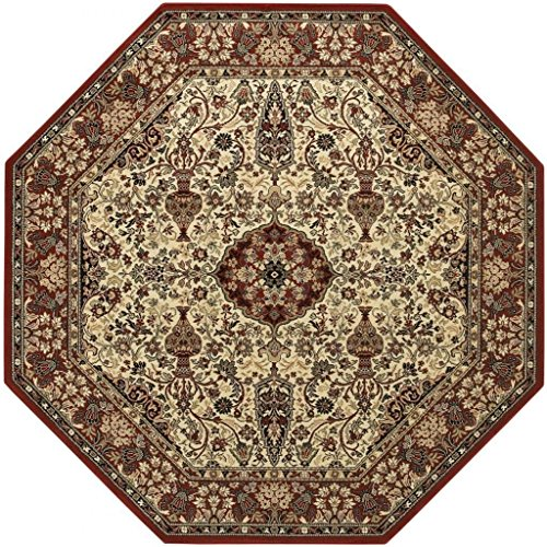 Couristan 3760/6004 Everest Ardebil/Ivory-Red 7-Feet 10-Inch Octagon Rug (Ivory Red Octagon Rug)