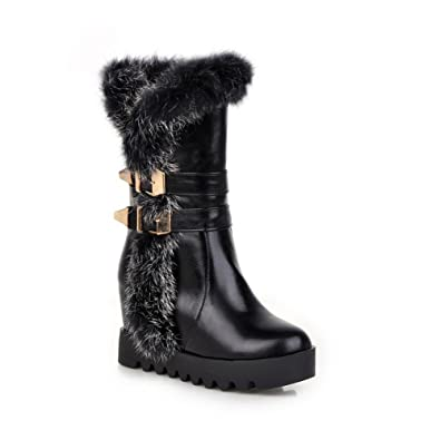 Womens Boots Closed-Toe No-Closure Adjustable-Strap Warm Lining Fringed Waterproof Mid-Top Soft-Ground Cold-Weather Urethane Boots MNS02274