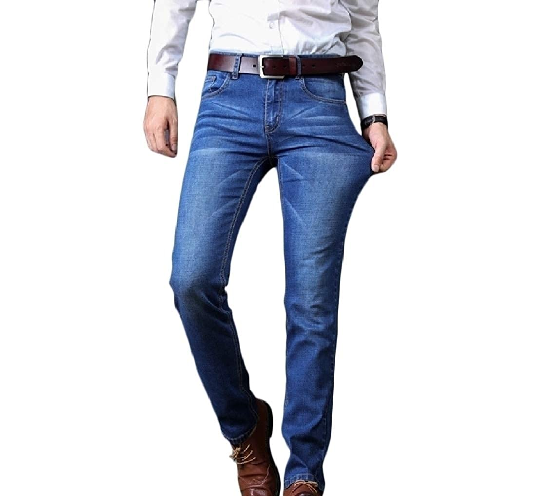 Coolred-Men Plus Size Washed Long Pants Straight Bodycon Regular Fit Jean