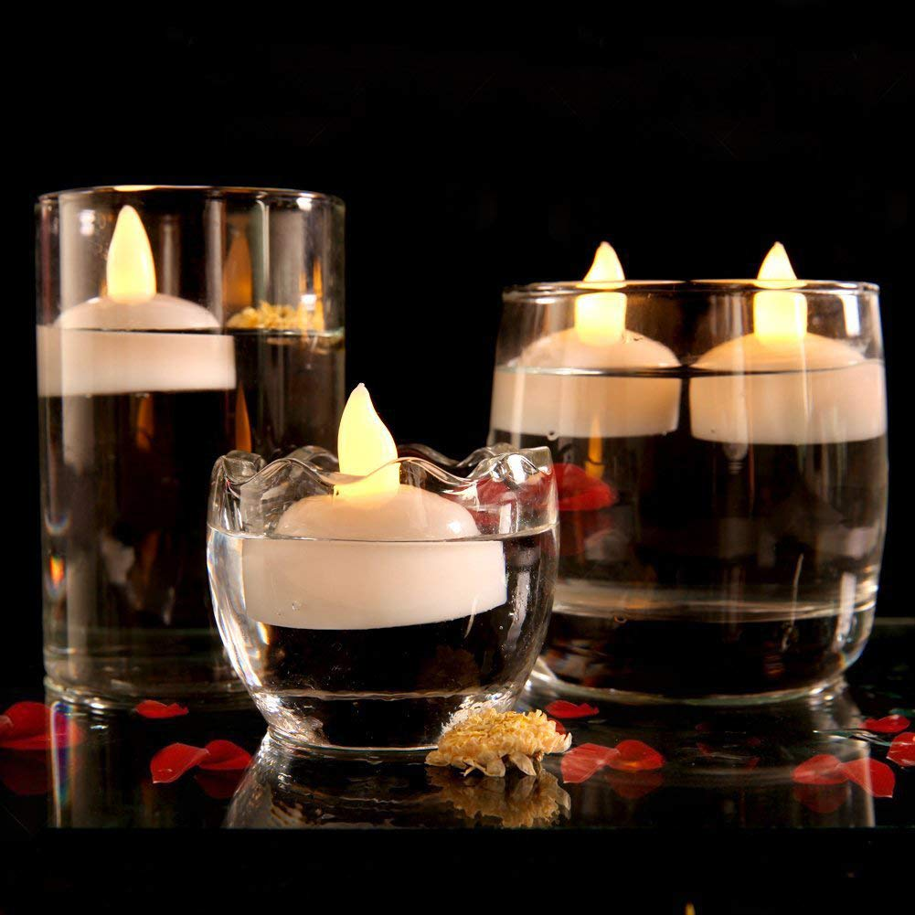 Tker Floating Flameless Candles Warm White Waterproof Flickering LED Tea Lights Battery Operated for Wedding Party Pool SPA