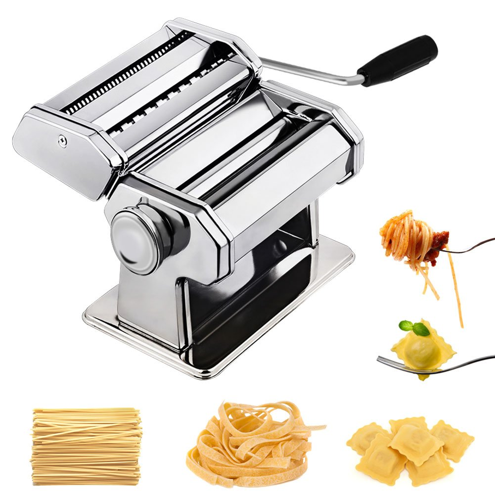 CHEFLY Pasta Ravioli Maker Set All in one 9 Thickness Settings for Fresh Homemade Fettuccine Spaghetti Lasagne Dough Roller Press Cutter Noodle Making Machine P1802 by Chefly