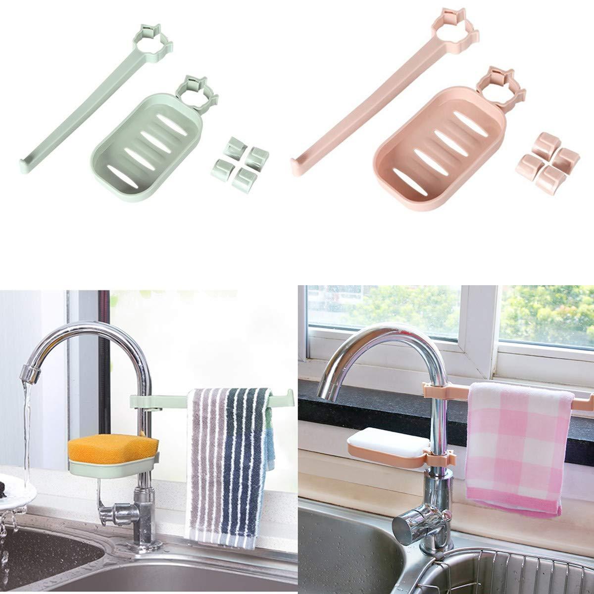 Faucet Drain Storage Racks Alinyf Kitchen Supplies Supplies Sink Sponge Dishcloth Towel Rags Drain Shelf Brush Rack Sink Storage Durable Holder Kitchen Sponge Rags Drying Support- 2Pack