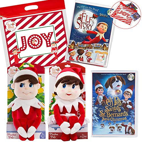The Elf on the Shelf Girl and Boy Plushee Pal Light with an Elf Story DVD and New Santa's St. Bernards Save Christmas DVD Movie with Exclusive Joy Travel Bag (Bear Christmas Bernard)