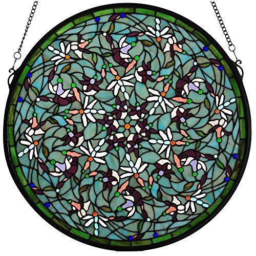 Meyda Emerald Dragonfly Swirl Medallion Stained Glass Window Panel