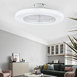 Orillon 22'' Thin Modern Ceiling Fan with Light for Indoor Kitchen Bathroom Bedroom,Remote LED 3 Color Lighting Low Profile Flush Mount Quiet Electric Fan with 4 ABS Blades and Plastic Cover,White