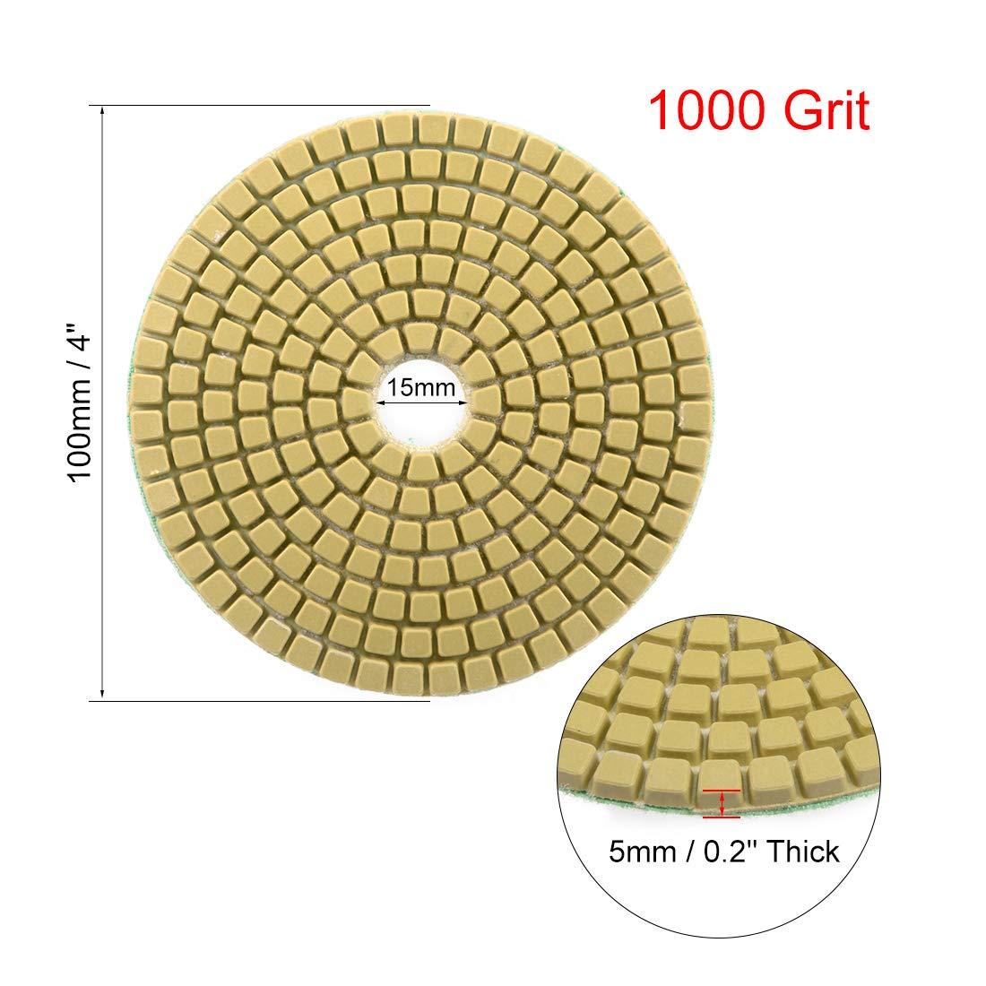 sourcing map Discos de pulido de diamante 4 pulgadas de grano 1000 para Granito,Hormig/ón,Piedra y M/ármol 2 piezas