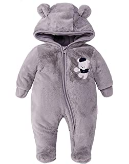 BANGELY Newborn Baby Boys Girls Cartoon Bear Fleece Jumpsuit Romper Winter Warm Windproof Snowsuit Wool Lamb Footies Playsuit