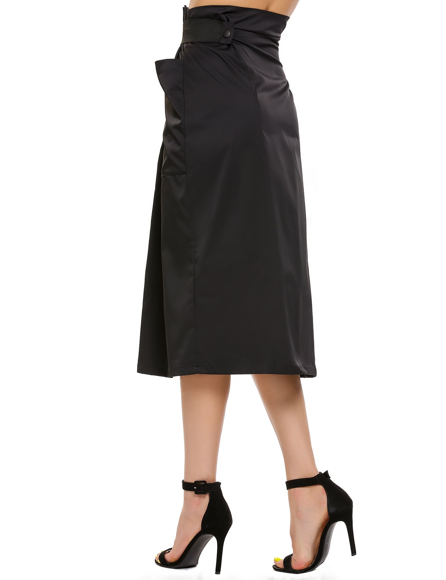 Women Casual High Waisted African A Line Maxi Long Skirt Black Small by Zeagoo (Image #7)