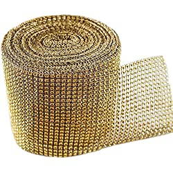 "Gold Diamond Sparkling Rhinestone Mesh Ribbon for Event Decorations, Wedding Cake, Birthdays, Baby Shower, Arts & Crafts, 4.75"" x 10 Yards, 24 Row, 1 Roll"
