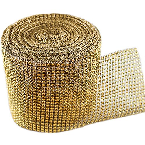 Glitter Holiday Bling Ribbon (Gold Diamond Sparkling Rhinestone Mesh Ribbon for Event Decorations, Wedding Cake, Birthdays, Baby Shower, Arts & Crafts, 4.75