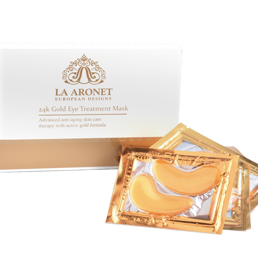 LA ARONET 24K Gold Eye Treatment Masks - (Pack of 20 Pairs) with Anti-Aging Wrinkle Reduction Collagen and Nutrients to Reduce Dark Circles, Bags, and Eye Puffiness, 5 EXTRA BONUS PAIRS included by LA ARONET (Image #6)