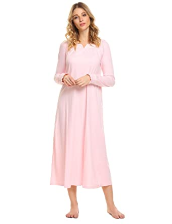 1fb9ff2727 Langle V-neck Lace Sleepwear Casual Loungewear Womens Full Length Nightgown  (Pink
