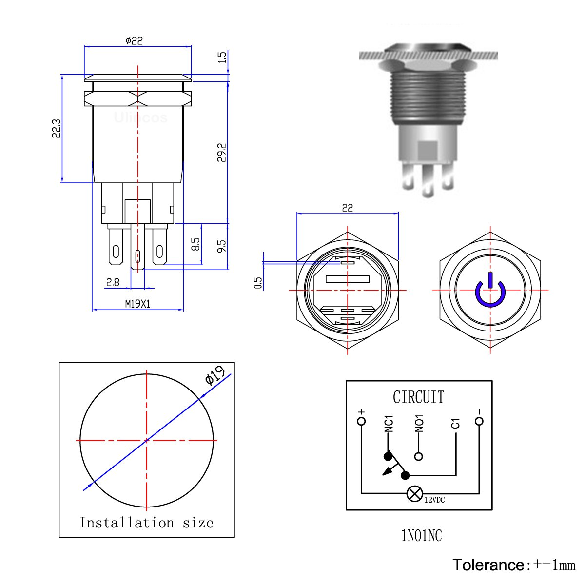 Ulincos Latching Pushbutton Switch U19c1 1no1nc Spdt On Latch Logic Diagram Including Circuit Off Silver Stainless Steel Shell With 12v Red Led Suitable For 19mm 3 4 Mounting Hole