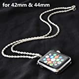 Stainless Steel Chain Necklace Smartwatch Band 42mm Series 3 2 1 / 44mm Series 4 New Newest Polished Silver Metal Twisted Style Rope Neckband Replacement Accessories Wearable Technology Women Men