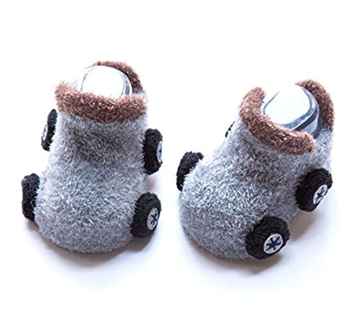 2 Pair Qinju Kids Toddler Slipper Socks Indoor Booties Cozy Warm Fuzzy Non Slip Grippers