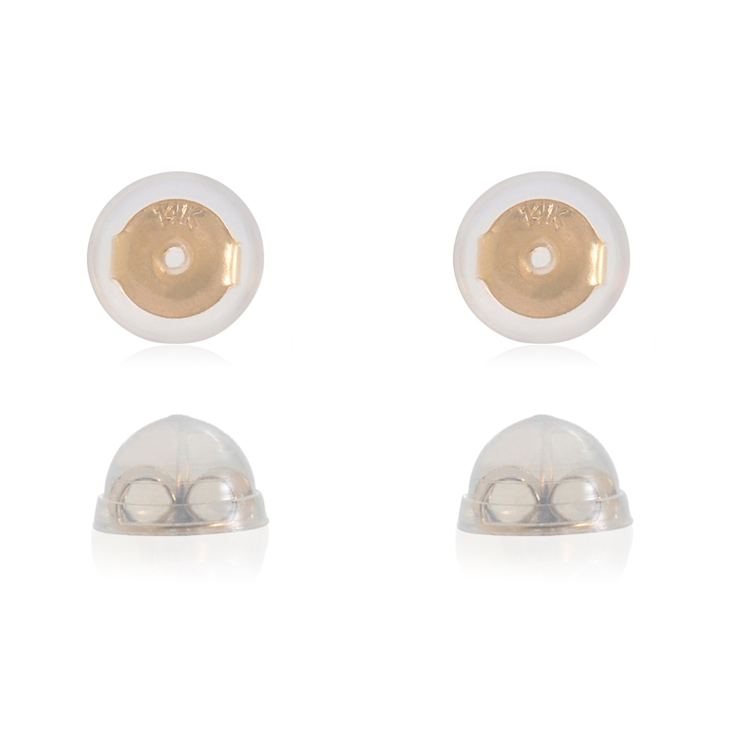 Universal EZback Earring Backs Soft Clear Silicone and 14k Yellow Gold Small 2 Pairs by UNIVERSAL EZ BACK
