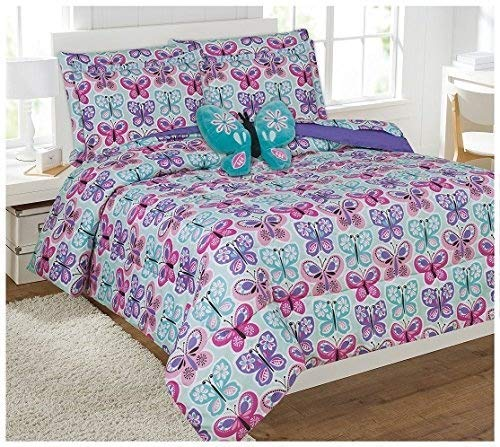 Elegant Home Butterflies Floral Multicolor Blue White Pink Design 8 Piece Comforter Bedding Set for Girls/Kids Bed in a Bag with Sheet Set & Decorative Toy Pillow # Butterfly Blue 2 (Full Size)