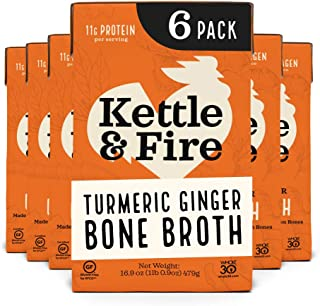 product image for Turmeric Ginger Chicken Bone Broth by Kettle and Fire, Pack of 6, Keto Diet, Paleo Friendly, Whole 30 Approved, Gluten Free, with Collagen, 11g of protein, 16.9 fl oz