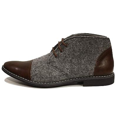 5a229150025ad5 PeppeShoes Modello Amedeo - 39 - Handgemachtes Italienisch Bunte  Herrenschuhe Lederschuhe Herren Grau Stiefeletten Chukka Stiefel