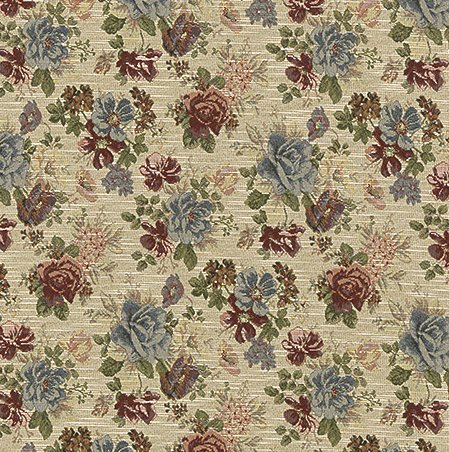 - Burgundy and Light Blue Cream Classic Floral Tapestry Upholstery Fabric by the yard