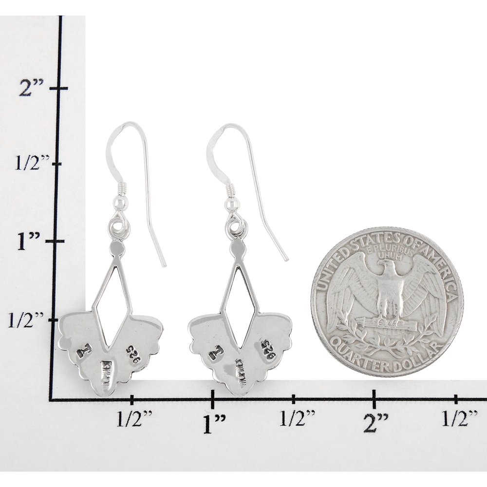 Turquoise Earrings 925 Sterling Silver & Genuine Turquoise (Dainty Dangles) by Turquoise Network (Image #4)