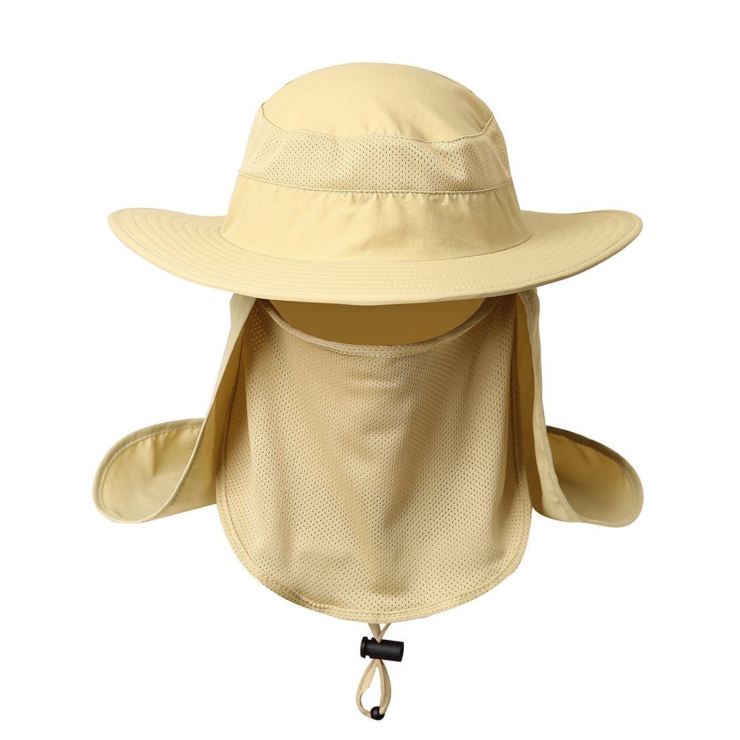 Khaki belababy Outdoor Sun Cap Men Women UPF 50+ UV Sun Predection Neck Flap, Face Cover Mask